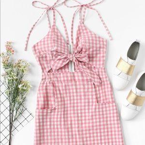 Dresses & Skirts - Tie shoulder knot front pink gingham dress NWOT